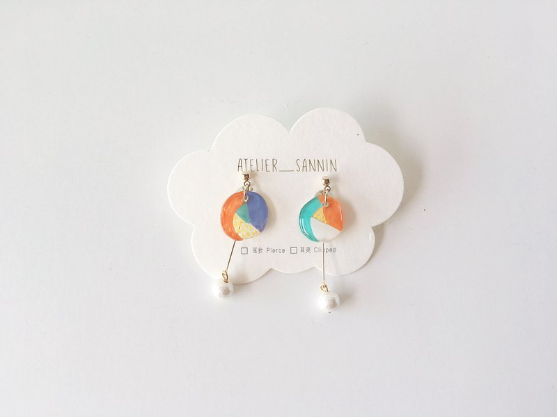 Dreamland amusement park series - color Ferris wheel hand-painted two wearing handmade earrings ear pin / ear clip