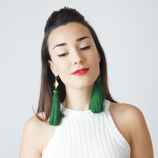 Positive fresh green lace fringed elegant dinner party exaggerated long earrings two kinds of lengths Irresistible Elegance original and creative wedding handmade wedding jewelry CHATIO | Turkey Hand brand epuu from Turkey Customizable Valentine's Day
