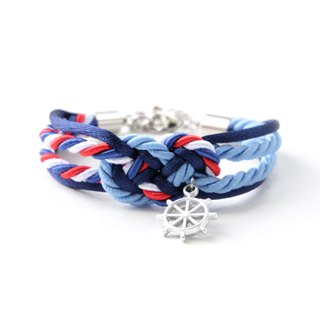 Infinity knot Ship wheel bracelet in navy blue /matte cornflower blue /Tri-color