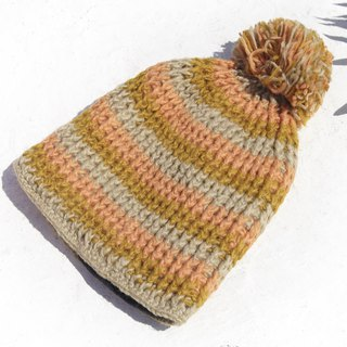 Christmas gift exchange gifts Christmas Express emergency gift a limited edition hand-woven wool hat / knitted wool cap / inner bristles hand-woven wool cap / wool cap - striped knitted hat British milk tea