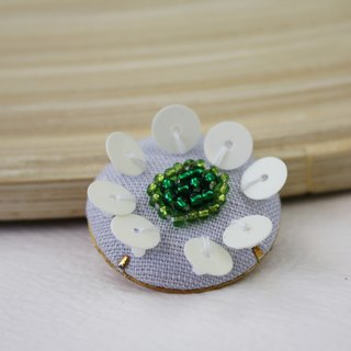 handmade white floral brooch,  round flower pin