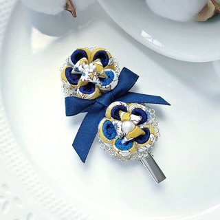 Archaic Japanese style and wind cloth flower fabric ribbon color matching metal sheet long hair clip