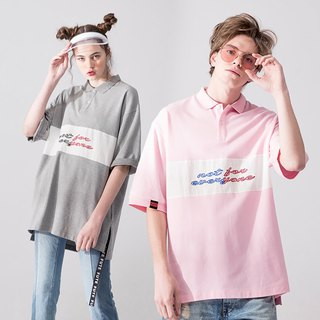 UNISEX OVERSIZED POLO SHIRT/  Pink+ Grey