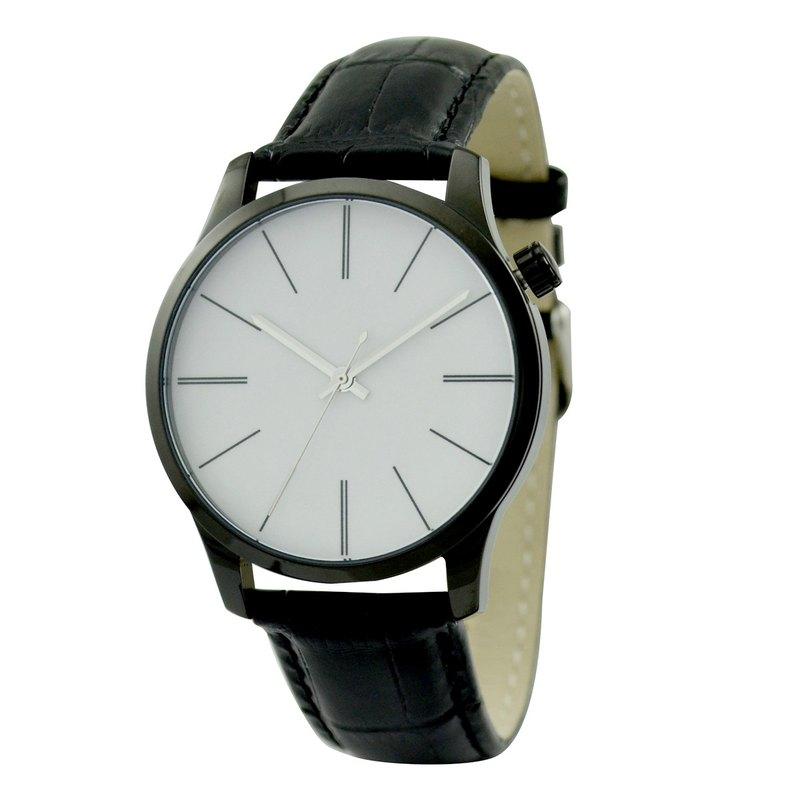 簡約幼長條紋手錶 大裝 黑殼 免運