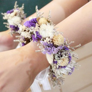 Flowers and flowers - purple and white dry wrist flower dry flower hand ring wedding props bridesmaid bracelet