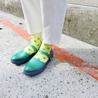 Thick-soled lace-up shoes|| Lightning puffs blue fruit green near the Eiffel Tower|| 画儿#8126