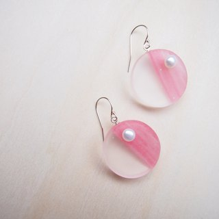 earrings : circle with pearl EW106