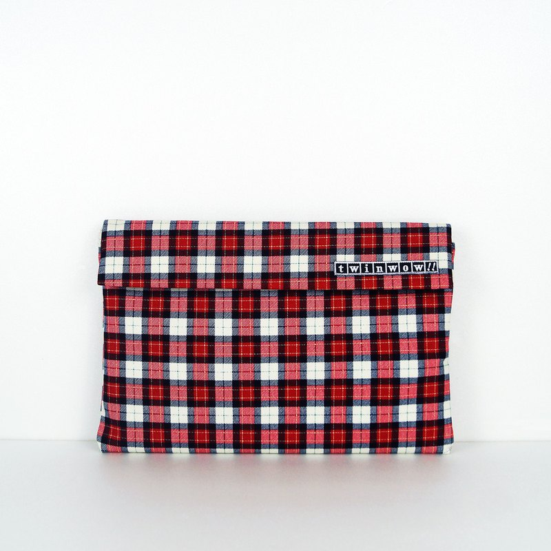 時尚筆記 - 細緻質感平板包 - 格紋紅