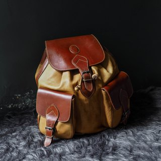 Baccio design Caramel Tea Brown Big Pocket Antique Thick Pound Leather Backpack Vintage Bag