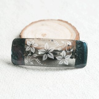 Transparent,carve flower barrette-black