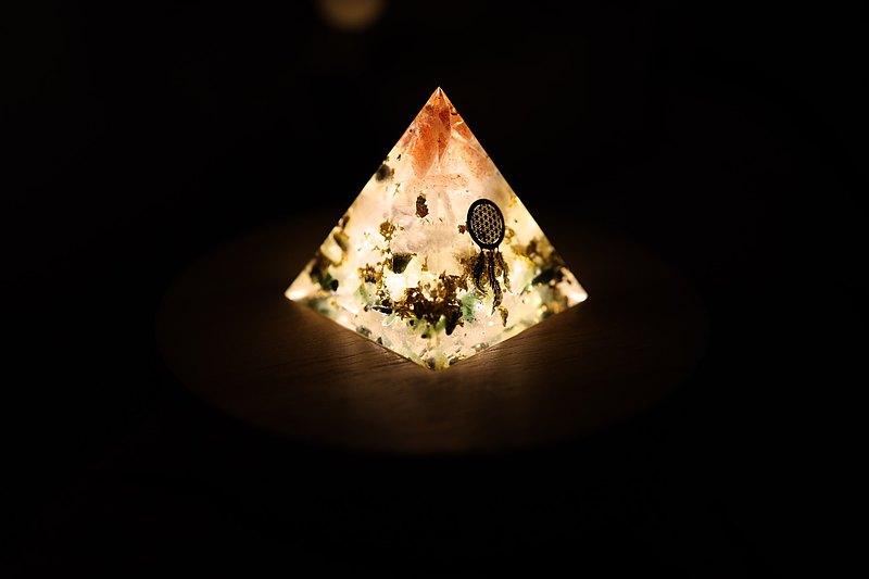 捕夢網生命之樹-奧剛金字塔小夜燈Orgonite水晶礦石招財、聚財、