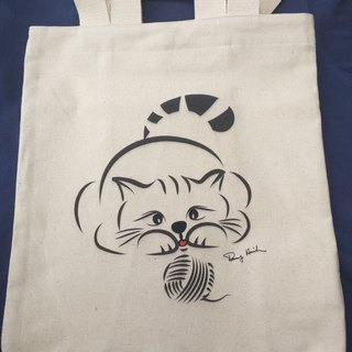 Q Family canvas bag cat double-sided before the end of September to send Q Family map