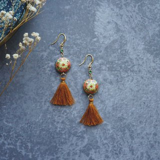 Ostrich Princess - Zhien 転 series - apricot red Chinese style + grass yellow tassel (pair)