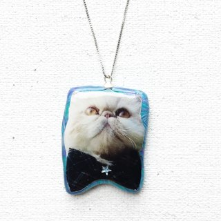 Happy Cat with Bowtie Kiki Stardust 925 Silver Handmade Necklace