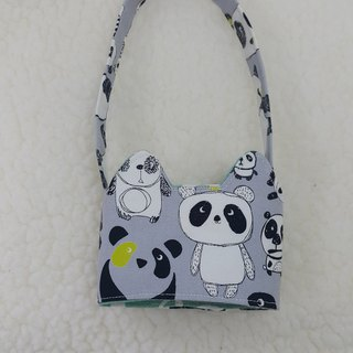 Naughty panda cat ears with eco-friendly drink cup sleeve bag / double-sided available