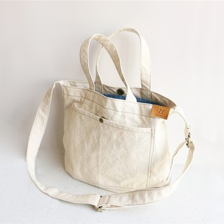Mingen Handiwork summer Japanese small fresh beige canvas bag men and women cloth bag BB18001 white