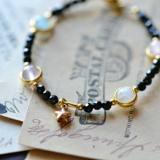 The Treasure of Galaxy。Gemstones 18K Gold Plated Bracelet
