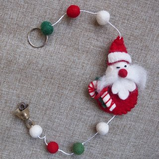Handmade Felt Hanging Christmas Ornament Red Santa with a crutch