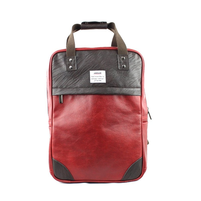AMINAH-紅色純真後背包【am-0294】