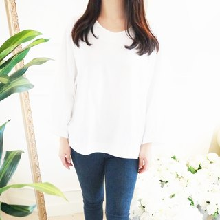 Cotton wide-sleeved shirt / white