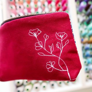 Embroidery Red flowers  - cosmetic zipper  pencil bag
