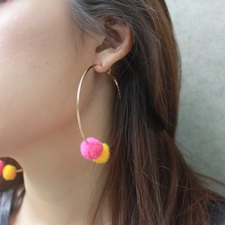 Bubble ring earrings (large) peach