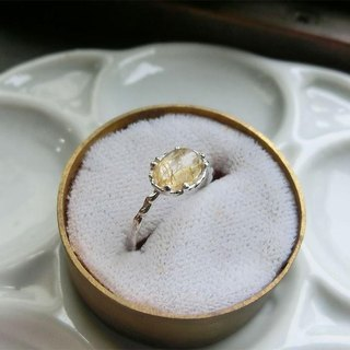 Ring rutile quartz dancing gold thread