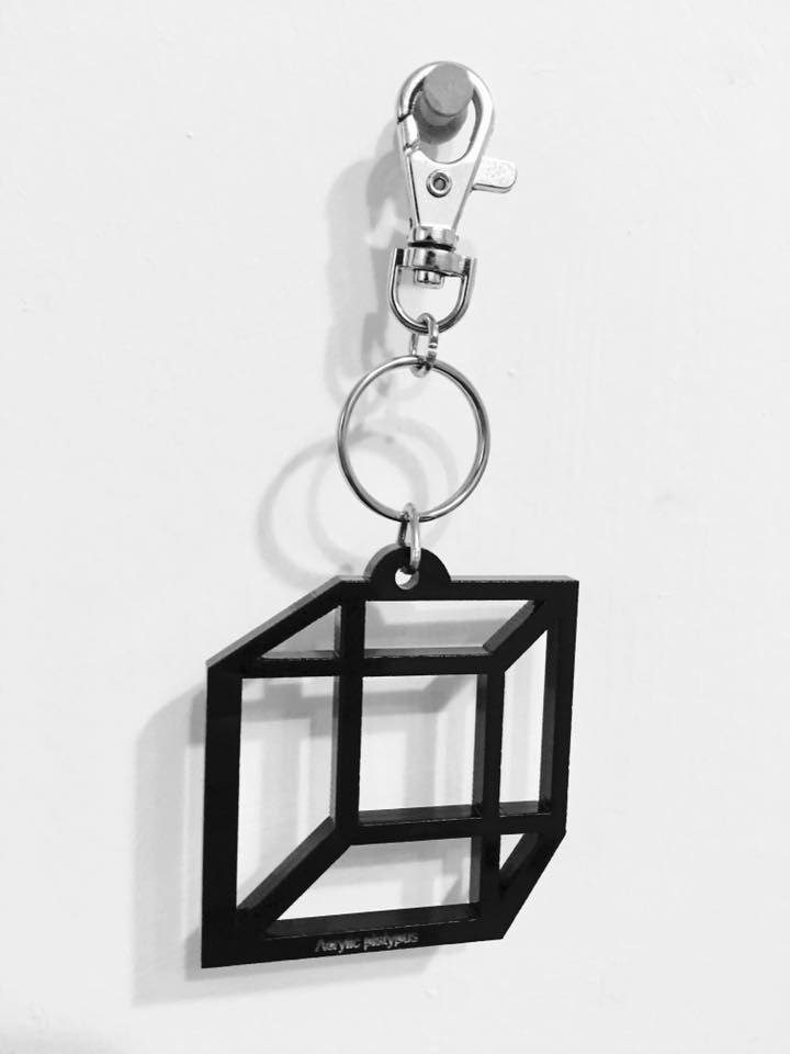 Lectra duck ▲ ▲ cube illusion necklace / keychain / dual-use \ threw a postcard dogs and cats