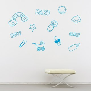 """Smart Design"" Creative Seamless wall stickers ◆ kiss baby 8 color options"