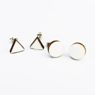 Tiny geometric triangle and circular wood earrings - White