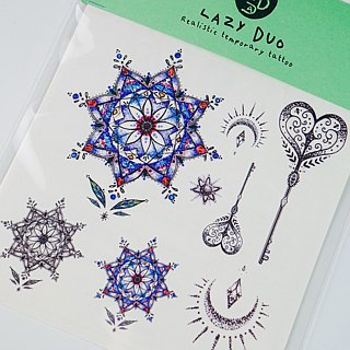 Realistic Spiritual Boho Fun Watercolor Temporary Tattoo Stickers Stained Glass