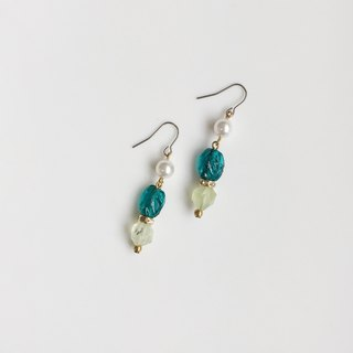 Seaweed seaweed pearl natural stone earrings