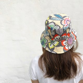 Marker flowers / American Cotton print / double-sided use bucket hat