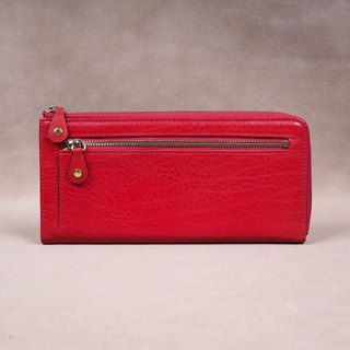Italian Vegetable Genuine Leather Lady Long Wallet Zipper Wallet Purse Red