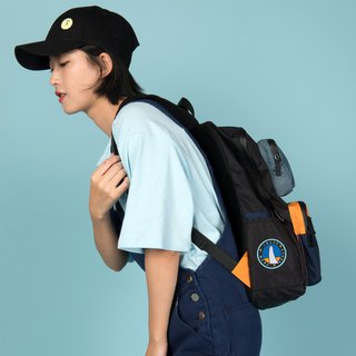 KIITOS new waterproof nylon polyester contrast color embroidery street backpack after the backpack - black ghost models