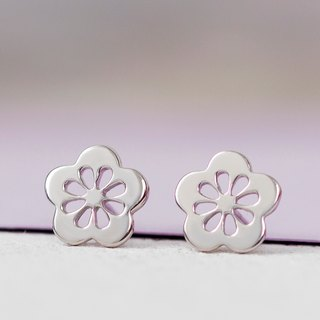 Sakura Earrings in 925 Silver with White Gold plating