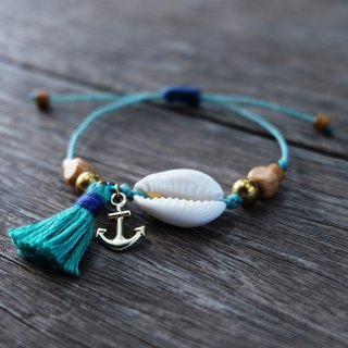 Sea shell with anchor and teal green blue tassel beach bracelet