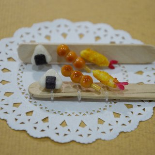 Japanese Dim Sum Set Earrings (Auricular OR Clips) - Onigiri & Fried Shrimps & Dumplings