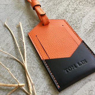 KAKU leather design luggage tag luggage luggage tag orange