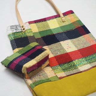 Checkers Tote Bag in Yellow