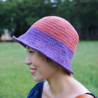 Weaving color wide-brimmed hat - red Putao Zi