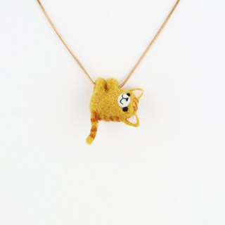 Hug me necklace / wool felting animals – Ginger Cat