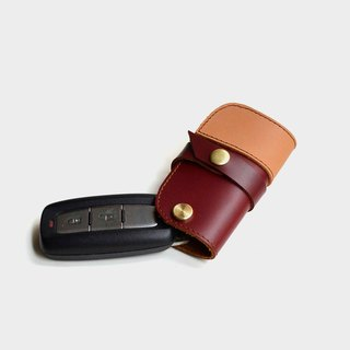 【Speed】 Trojans leather car key case car key set Wei Shi brand red brown color leather stitching Christmas Valentine's Day gift custom lettering as a gift
