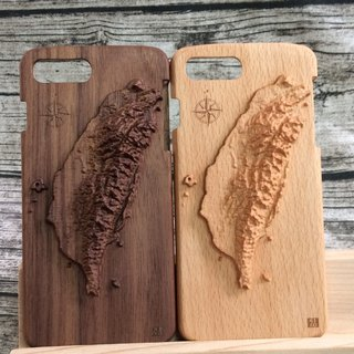Iphone7/ Iphone7PLUS Log Phone Case-3D Taiwan Map (Alder/Walnut)