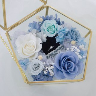 [Wedding] proposal glass cover ring - pink blue is not wither rose / hydrangea / gypsophila