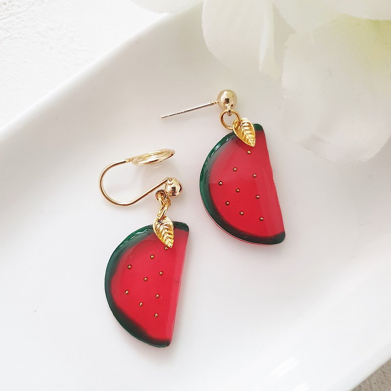 Red Jade Watermelon-Clip-on Earrings Pin Earrings Stainless Steel Ear Pins