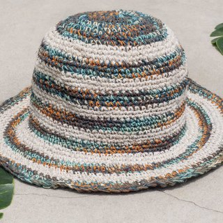 Hand-knitted cotton and linen cap knit hat fisherman hat sun hat straw hat - French dream Star Star universe