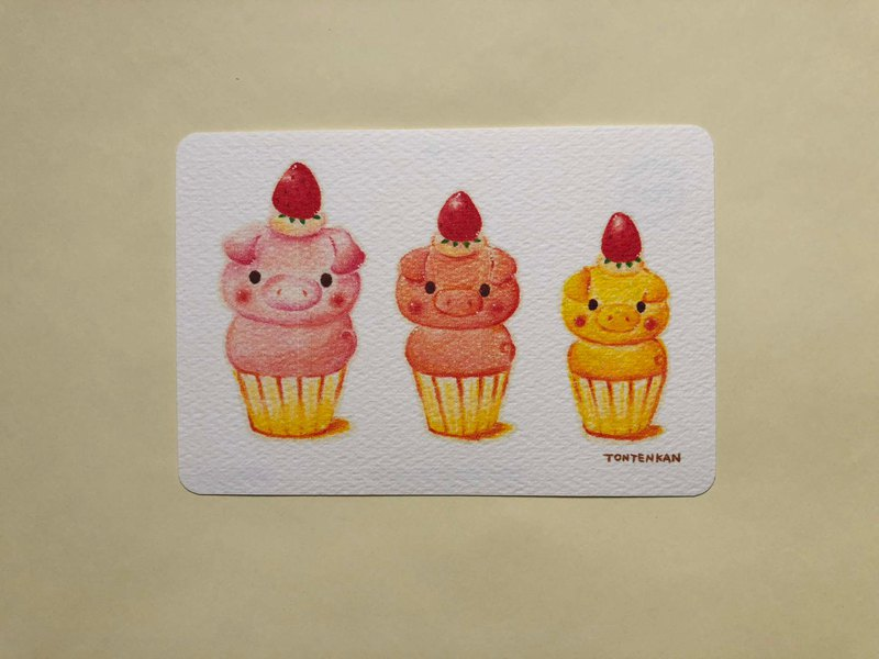 Three young eyed cat cupcake postcards no.185