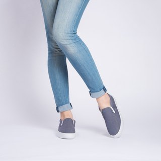 French eco-shoes SLIP-ON   JEANS BLUE   Recycled PET fabrics (upcycle, durable,
