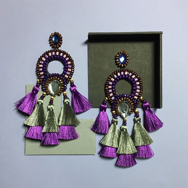 earrings : boho chic x2nd purple l gray